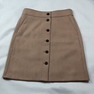 J.Crew sz 6p A line wool button front skirt